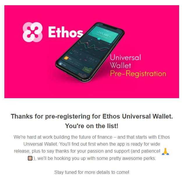 ethos wallet registratie